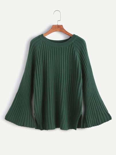 Dark Green Bell Sleeve Slit Side Sweater