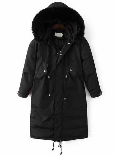 Abrigo acolchado con capucha de piel sintética - negro