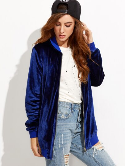 Royal Blue Zip Up Oversized Velvet Bomber Jacket
