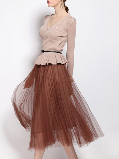 Khaki V Neck Knit Belted Top With Gauze Skirt
