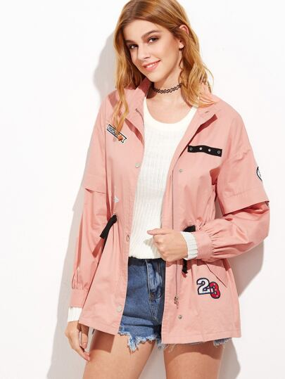 Pink Drawstring Waist Utility Jacket With Patch Detail