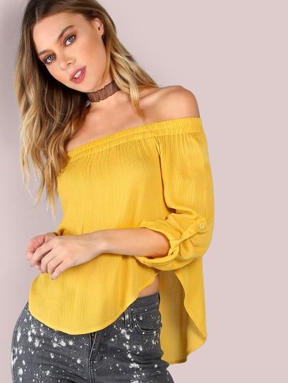 жёлтая модная блуза с открытыми плечами