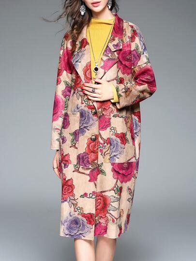 Multicolor Lapel Flowers Print Coat