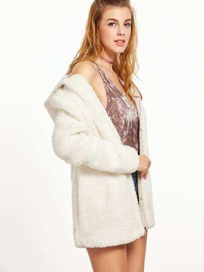 Chaqueta con capucha de borreguito - blanco