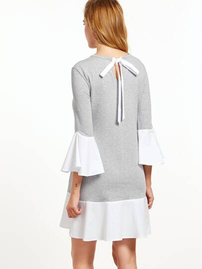 Heather Grey Contrast Cuff And Hem Keyhole Tie Back Dress