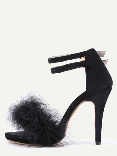 Sandalias de terciopelo con tira en el tobillo y pluma - negro