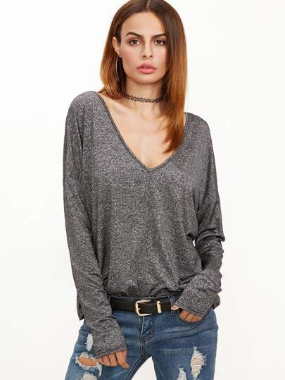 Grey Marled Knit Double V Neck Dolman Sleeve T-shirt