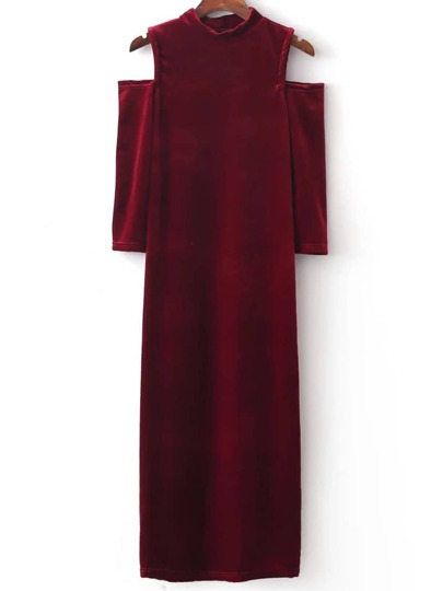 Red Open Shoulder Maxi Velvet Dress