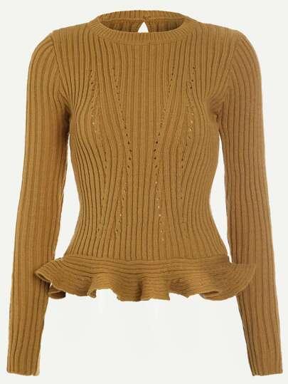Khaki Ribbed Eyelet Keyhole Back Ruffle Hem Sweater