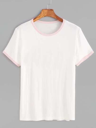 Camiseta con ribete en contraste - blanco
