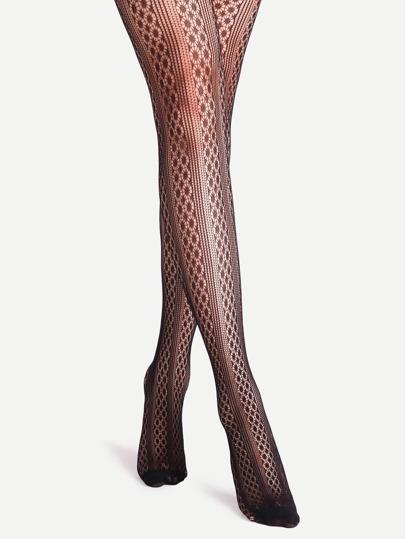 جوارب طويلة شفافة سوداء بطباعة هندسية