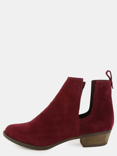 Faux Suede Short Booties WINE