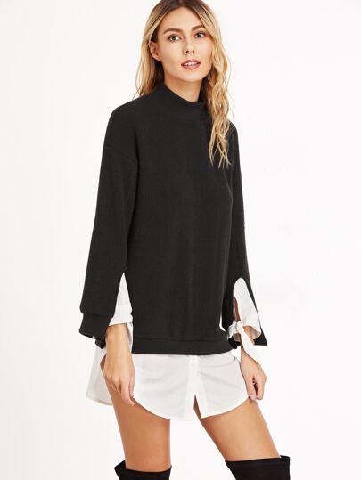 Black Ribbed Knit Tie Sleeve Contrast Trim Sweatshirt