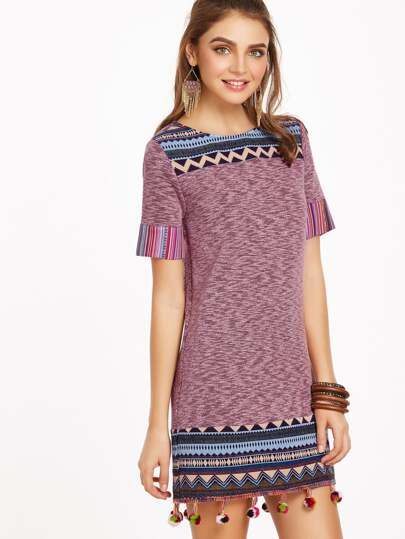 Marled Tribal Yoke And Trim Pom Pom Dress