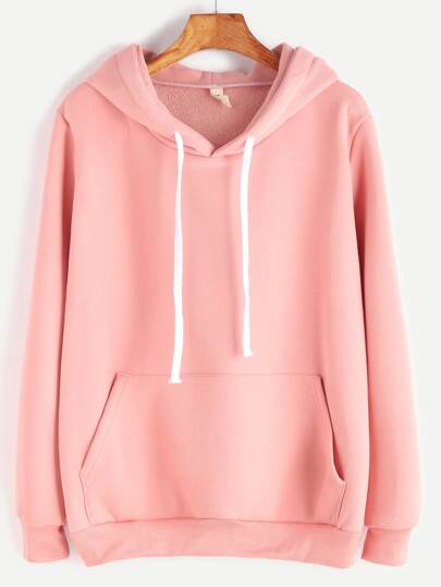 Pink Drop Shoulder Hooded Sweatshirt