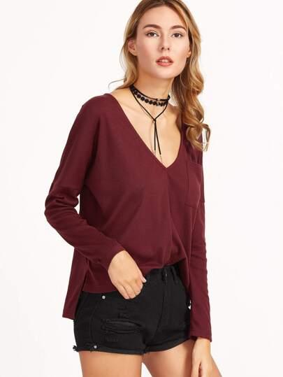 Burgundy Deep V Neck Dolman Sleeve High Low T-shirt