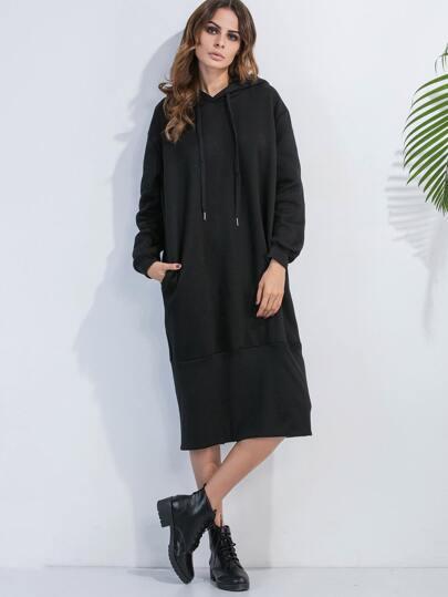 Vestido sudadera espalda con abertura con capucha - negro