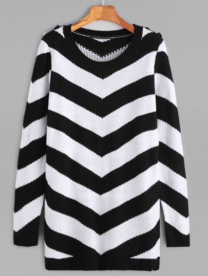 Pull motif chevron avec bouton - noir et blanc