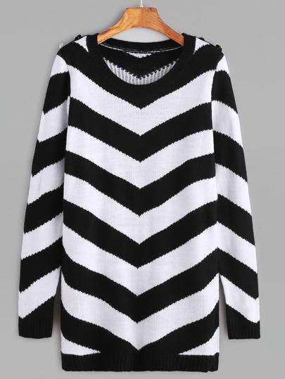 Чёрно-белый модный джемпер
