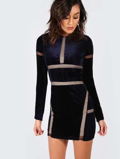 Sleeved Velvet Mini Mesh Dress NAVY