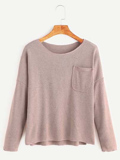 Pink Drop Shoulder Dip Hem Pocket T-shirt
