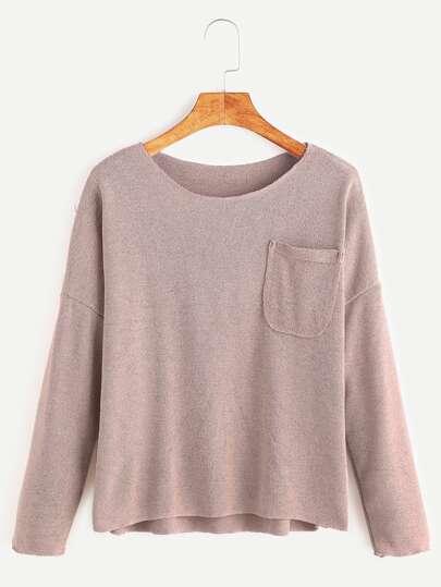 розовый джемпер с карманом и низкими плечами