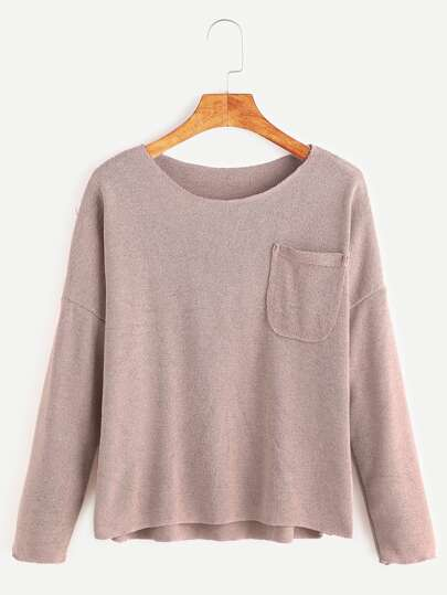 T-shirt mit Taschen Drop Schulter abfallendem Saum-rosa