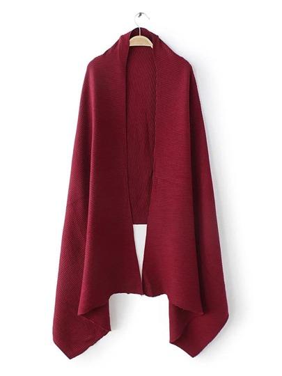 Бордовый ребристый шарф шалью