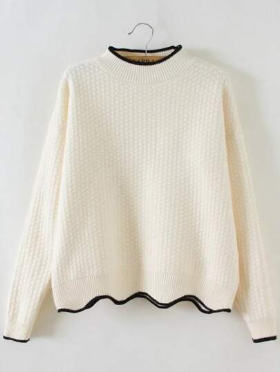 White Contrast Trim Crew Neck Scalloped Hem Sweater