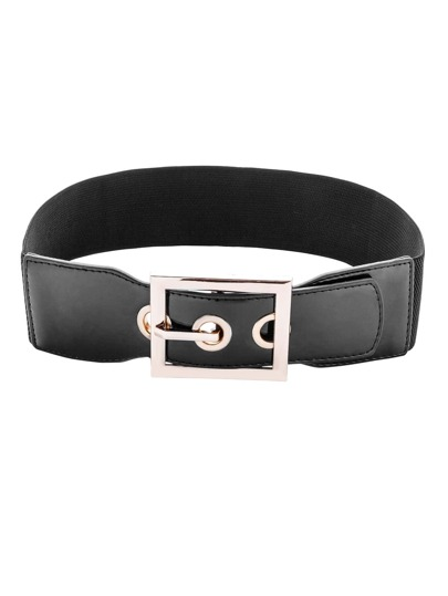 Black Buckled Elastic Faux Leather Waist Belt