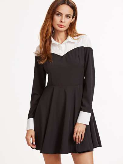 Black Contrast Yoke And Cuff A Line Dress
