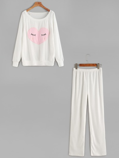 White Raglan Sleeve Embroidered Sweatshirt With Pants