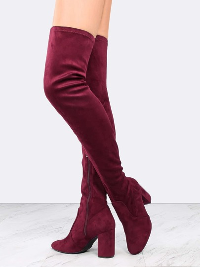 Almond Toe Chunky Heel Suede Boots WINE