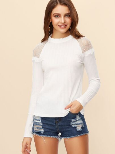White Lace Trim Keyhole Back Ribbed T-Shirt