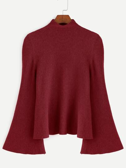 Burgundy Mock Neck Bell Sleeve Jersey Sweater