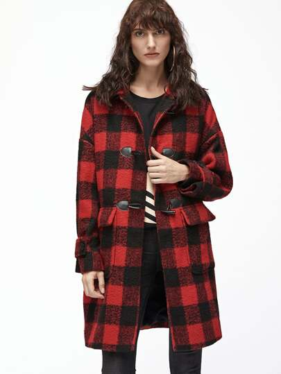 Black And Red Checkered Flap Pocket Front Duffle Coat
