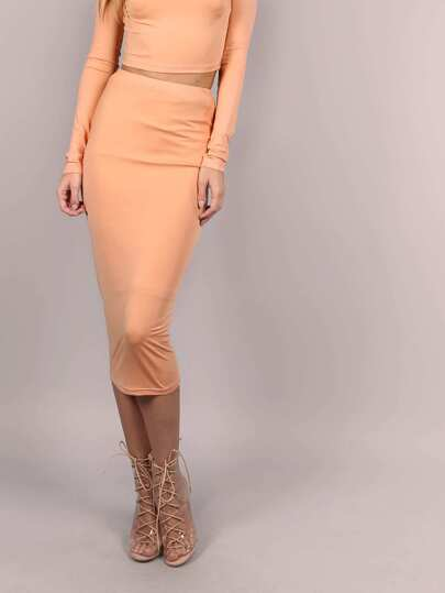 Camel Ribbed Knit Midi Pencil Skirt