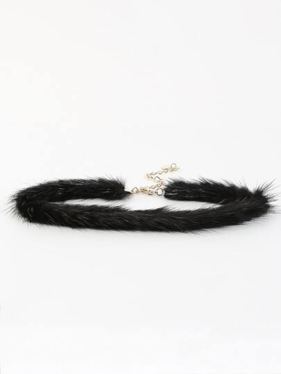 Faux Fur Thin Choker Necklace BLACK