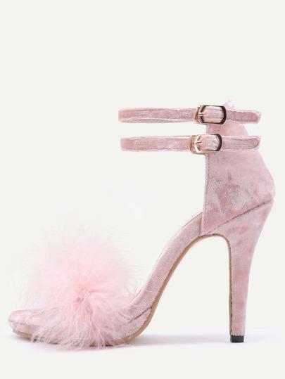 Pink Feather Embellished Ankle Strap Stiletto Velvet Sandals