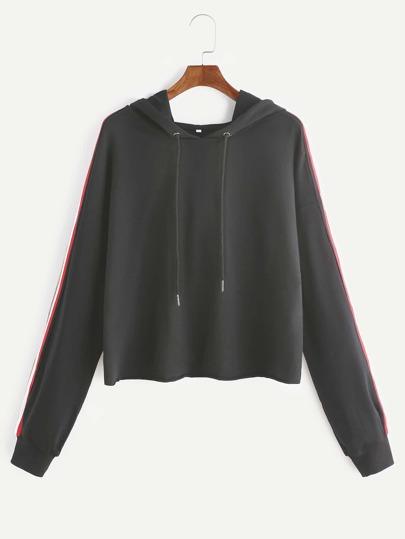 Sweat-shirt à rayure ourlet brut - noir