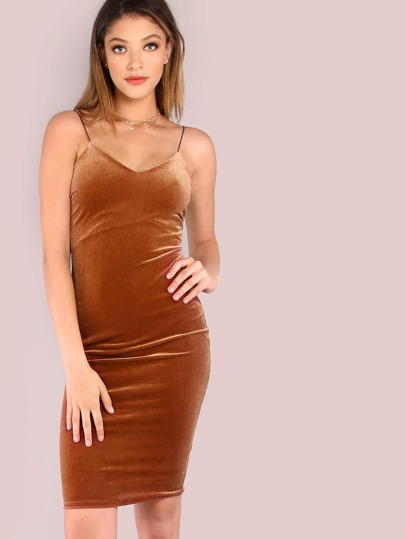 Velvet Slip On Bodycon Dress RUST