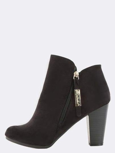 Almond Toe Stacked Heel Booties BLACK