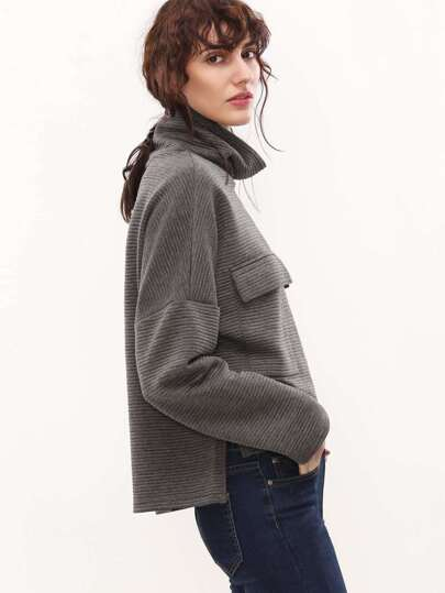 Grey Cowl Neck Flap Pocket Front High Low Ribbed Sweatshirt