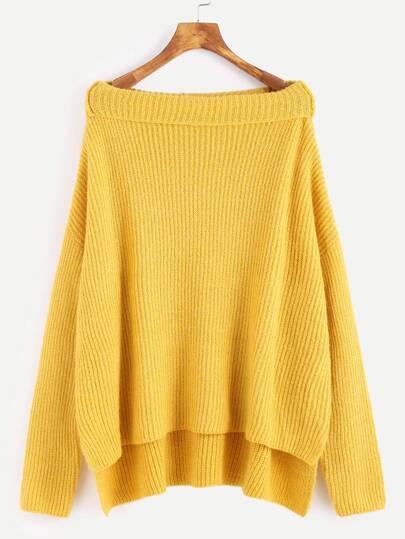 Pullover Boot-Ausschnitt Drop Schulter Vorne Kurz Hinten Lang-gelb