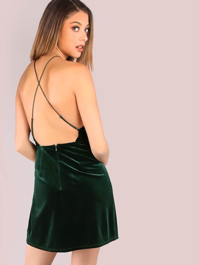 Low Back Knotted Velvet Mini Flow Dress HUNTER GREEN