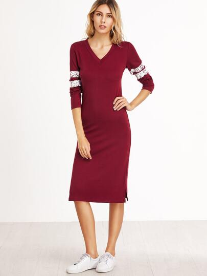 Burgundy Striped Sleeve Split Side Sheath Dress