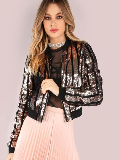 Sequin Strip Bomber Jacket BLACK