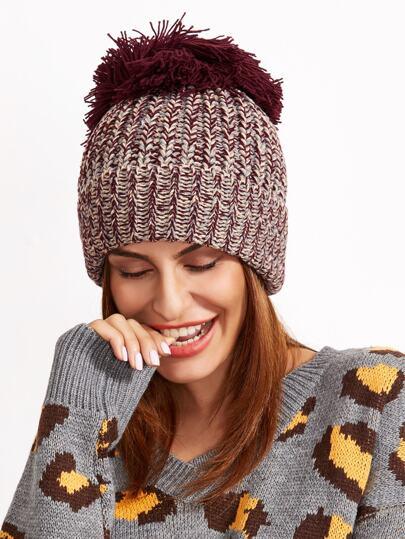 Chapeau tricoté en ligne avec Pom Pom - kaki