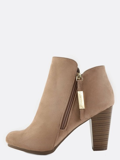 Side Zip Suede Ankle Boots NATURAL