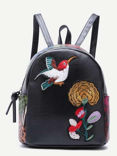 Rucksack mit Sparrow und Chrysantheme Stickereien PU -schwarz